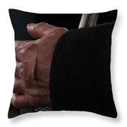 Hand With Bandaid Throw Pillow