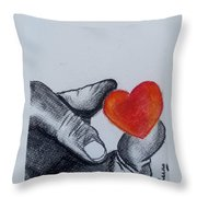 Hand With Heart Throw Pillow