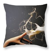 Hand With The Flying Glass Of Liqueur Throw Pillow