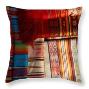 Hand Woven Table Cloths Throw Pillow