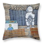 Handala And The Wall Throw Pillow
