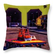 Handcar And Old Train Throw Pillow