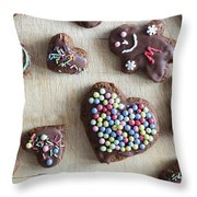 Handmade Decorated Gingerbread Heart And People Figures Throw Pillow