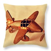 Handmade Metal Toy Plane Throw Pillow