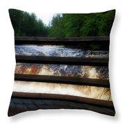 Handrails Tahquamenon Lower Falls Upper Peninsula Michigan 02 Throw Pillow