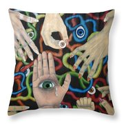 Hands And Eyes Throw Pillow