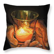 Hands By Candlelight Throw Pillow