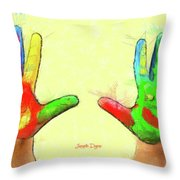 Hands In Art Throw Pillow