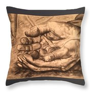 Hands Of Poverty Throw Pillow