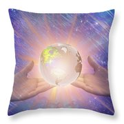Hands With A Glowing Earth Throw Pillow