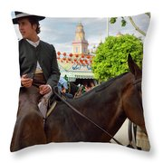 Handsome Man And Beautiful Woman Drinking On Horseback With 2015 Throw Pillow
