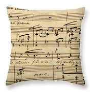 Handwritten Score For Hjertets Melodier, Opus 5 Throw Pillow