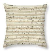 Handwritten Score For Waltz In Flat Major Throw Pillow