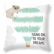 Hang On To Your Dreams Sloth- Art By Linda Woods Throw Pillow