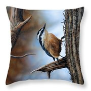 Hangin Out - Nuthatch Throw Pillow