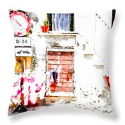Hanging Clothes Under Road Sign Throw Pillow