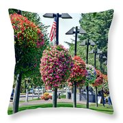 Hanging Flower Baskets In A Park Throw Pillow