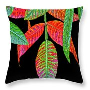 Hanging Green And Red Leafs... Throw Pillow