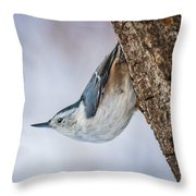 Hanging Nuthatch Throw Pillow
