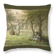 Hanging Out The Laundry By Jean-francois Millet Throw Pillow
