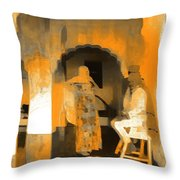 Hanging Out Travel Exotic Arches Orange Abstract Square India Rajasthan 1c Throw Pillow