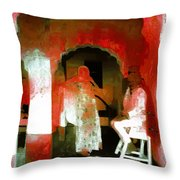 Hanging Out Travel Exotic Arches Red Abstract Square India Rajasthan 1e Throw Pillow