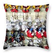 Hanging Out With Mickey And Minnie Throw Pillow