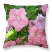 Hanging Pink Petunias Basket Throw Pillow