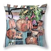 Hanging Pots And Pans Throw Pillow