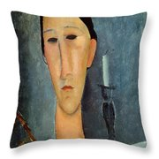 Hanka Zborowska With A Candlestick Throw Pillow