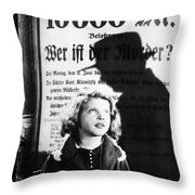 Hanna Maron And The Shadow Of Peter Lorre In M  1931 Throw Pillow