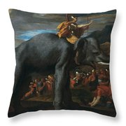 Hannibal Crossing The Alps On Elephants By Nicolas Poussin, 1625-1626. Throw Pillow