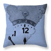 Hans Clock Cyan Throw Pillow