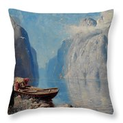 Hans Dah,  B. 1849. D. 1937. Norwegian Girl By The Sea Throw Pillow