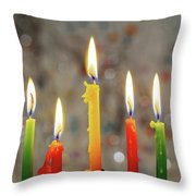 Hanukkah Menorah With Burning Candles Throw Pillow
