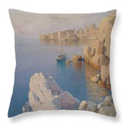 Hanzen, Alexei 1876-1937 A Cove In Dubrovnik Throw Pillow