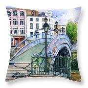 Ha'penny Bridge Dublin Throw Pillow