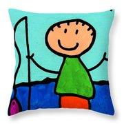 Happi Arte 2 - Boy Fish Art Throw Pillow by Sharon Cummings