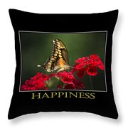 Happiness Inspirational Poster Art Throw Pillow