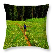 Happiness Is A Trail Throw Pillow