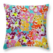 Happy Abstract Flowers Throw Pillow