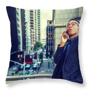 Happy African American Businessman Working In New York Throw Pillow