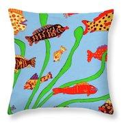 Happy Aquarium Throw Pillow