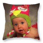 Happy Baby In A Woollen Hat Throw Pillow