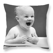Happy Baby In Tub, C. 1940s Throw Pillow