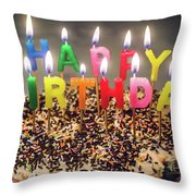 Happy Birthday Candles Throw Pillow