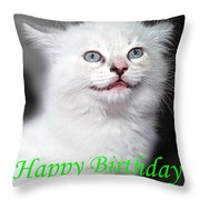 Happy Birthday Kitty Throw Pillow