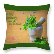 Happy Birthday Scorpio Throw Pillow by Beauty For God