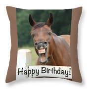 Happy Birthday Smiling Horse Throw Pillow