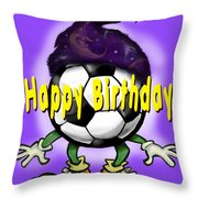 Happy Birthday Soccer Wizard Throw Pillow